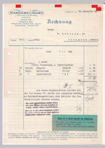 Rechnung Wahlert & Sohn, Kurzwaren-Großhandlung, Lippstadt 1939 und 1938
