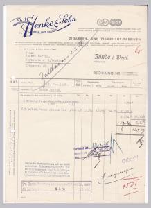 Rechnung O. H. Henke & Sohn, Zigarren- und Zigarillos-Fabriken, Bünde in Westfalen 1938