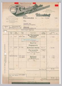 Rechnung Thompson-Werke GmbH, Fabriken chemischer Produkte, Dr. Thompson's Seifenpulver Marke Schwan, Düsseldorf 1934