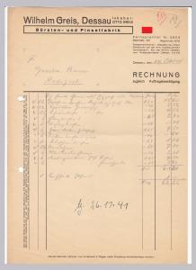 Rechnung Wilhelm Greis, Bürsten- und Pinselfabrik, Inhaber: Otto Greis, 1941