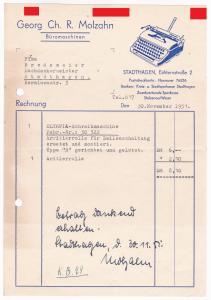 Rechnung Georg Ch. R. Molzahn, Büromaschinen, Stadthagen 1951