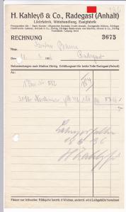 Rechnung H. Kahleyß & Co., Likörfabrik Weinhandlung Essigfabrik, Radegast Anhalt 1936