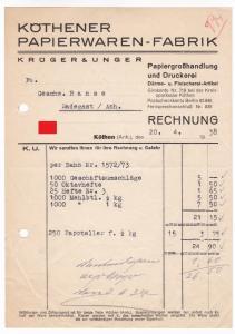 Rechnung Krüger & Unger, Köthener Papierwaren-Fabrik, Papiergroßhandlung und Druckerei, Därme- und Fleischerei-Artikel, Köthen Anhalt 1938