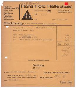 Rechnung Hans Holz (Carl F. Schmidt), Papier-Großhandlung, Tüten und Beutel aller Art, Halle Saale 1938
