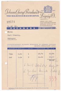 Rechnung Johann Georg Bernhardt, Tuchgroßhandlung, Leipzig C1 1936