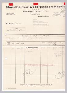 Rechnung Godelheimer Lederpappen-Fabrik GmbH, Godelheim Kreis Höxter 1935