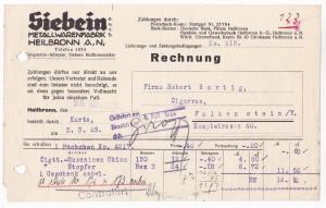 Rechnung Siebein Metallwarenfabrik GmbH, Heilbronn a. N. 1929