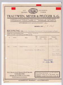 Rechnung Trautwein, Meyer & Pflüger AG, Altbremer Zigarrenfabrik, Bremen 1929