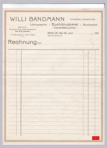 Rechnung BLANKO Willi Bandmann, Lithographie Buchdruckerei Büroartikel Geschäftsbücher, Berlin 1920er Jahre