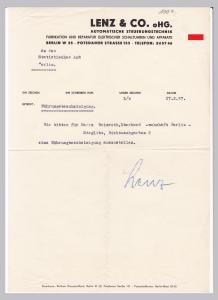 Schreiben Währungsbescheinigung Lenz & Co. oHG., Automatische Steuerungstechnik, Fabrikation und Reparatur elektrischer Schaltuhren und Apparate, Berlin 1957