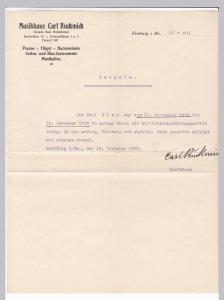 Schreiben Zeugnis Musikhaus Carl Ruckmich, Großh. Bad. Hoflieferant, Pianos Flügel Harmoniums Musikalien, Freiburg i. Br. 1926