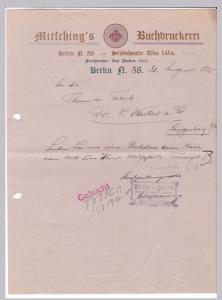 Schreiben Mitsching's Buchdruckerei Berlin 1920