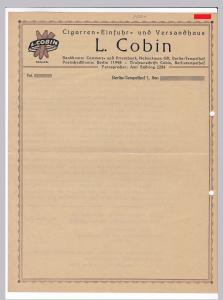 Rechnung oder Schreiben BLANKO L. Cobin, Cigarren-Einfuhr und Versandhaus, Zigarren, Berlin-Tempelhof, umseitig ist eine Übersetzung, um 1948