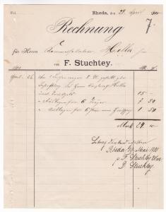 Rechnung F. Stuchtey, Rheda 1900