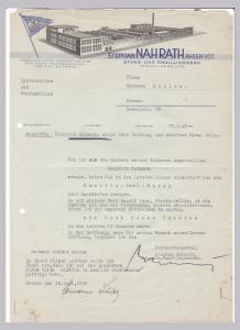 Schreiben Stephan Nahrath, Stanz- und Emaillierwerk, Ahlen Westf. 1946