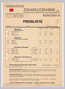 Schreiben Preisliste Süddeutsche Zigarillosfabrik GMBH, München 1931