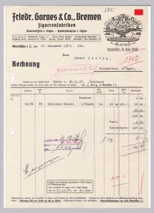 Rechnung Friedr. Garves & Co., Zigarrenfabriken, Bremen, Alverdissen in Lippe und Hohenhausen in Lippe, Spezialität: St- Felix-Brasil, 1937