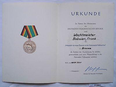 DDR Urkunde Medaille für treue Dienste Ministerium des Innern in Bronze (113861)