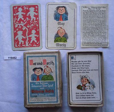 Altes Quartett Kartenspiel Max & Moritz im Original Karton um 1940 (116452)