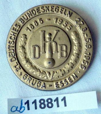 Seltenes Blech Abzeichen 21.Deutsches Bundeskegeln Gruga Essen 1955 (118811)