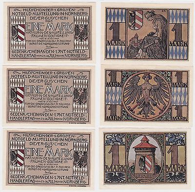 3 x 1 Mark Banknoten Notgeld Nürnberg Notgeldausstellung 17.-31.7.1921 (121096)