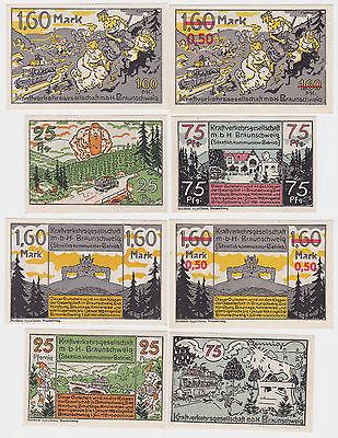 4 Banknoten Notgeld Braunschweig Kraftverkehrsgesellschaft mbH 1.7.1921 (121055)