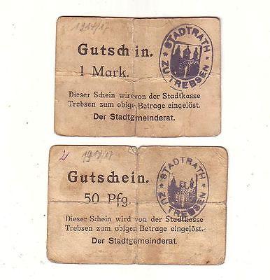 2 Banknoten 50 Pfennig und 1 Mark Notgeld Stadt Trebsen ohne Datum (116712)