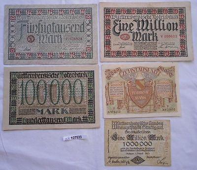 5 Banknoten Inflation badische und württembergische Bank 1923 (103895)