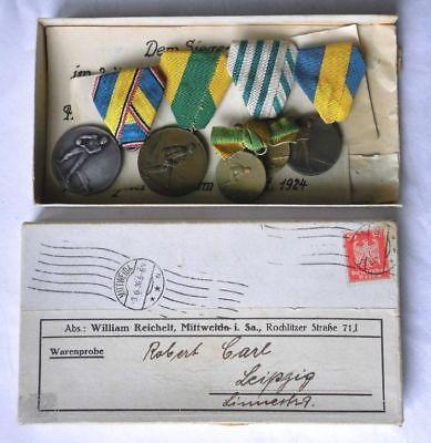 5 seltene DDR Medaillen Kegeln um 1925 im Originalkarton (114551)
