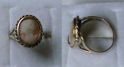 Dekorativer Damenring Gold mit Gemme Frauenkopf (115002)