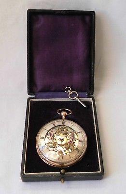 Schöne Spindeluhr Breguet a´ Paris 18 K Gold im Etui (114577)