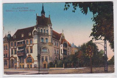 83931 Ak Allenstein Ecke Schiller- und Kaiserstrasse 1917
