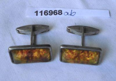 Klassischer Manschettenknöpfe 835er Silber Bernstein Fischlandschmuck (116968)