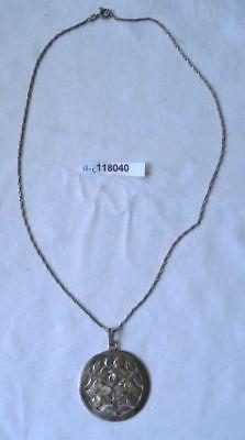 Schöne Kette und Anhänger Blume Handarbeit 800er Silber (118040)