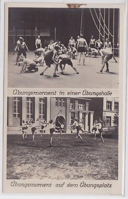 87873 Foto Ak Arbeiter-Turn- u. Sportschule Leipzig Übungsmomente um 1930
