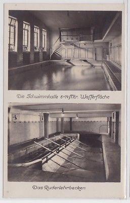 87875 Foto Ak Arbeiter-Turn- u. Sportschule Leipzig Schwimmhalle um 1930