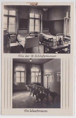87872 Foto Ak Arbeiter-Turn- u. Sportschule Leipzig Schlafraum Waschraum um 1930