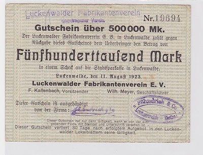 500000 Mark Banknote Luckenwalder Fabkrikantenverein e.V. 11.8.1923 (122071)