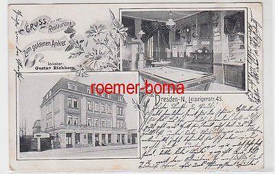 72902 Mehrbild Ak Dresden-N. Gruss aus dem Restaurant Zum goldenen Anker 1909