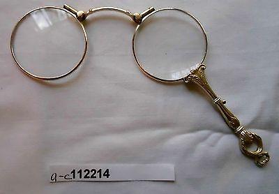 Rare Biedermeier 750er/ 18 Karat Gold Lorgnon Lorgnette Klappbrille (112214)