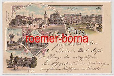 83628 Ak Lithographie Gruss aus Riesa Hotel Kaiserhof, Hotel Höpfner usw. 1898