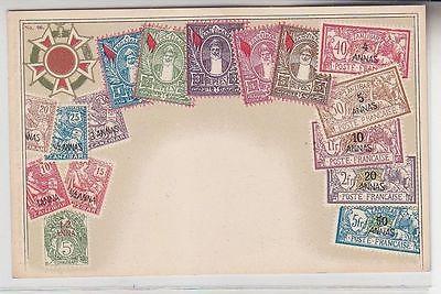69999 Wappen Ak Sansibar Zanzibar mit Briefmarken um 1900