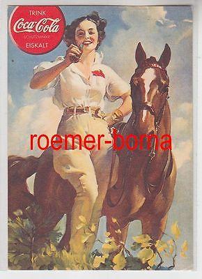 25314 Reklame Ak Coca Cola Junge Frau mit Pferd um 1930