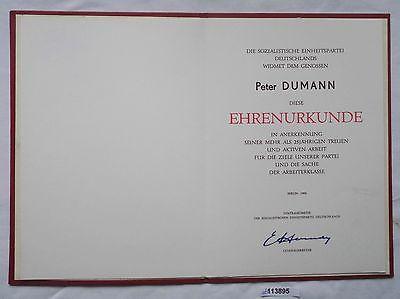 DDR Ehrenurkunde Medaille für 25 Jahre treue Arbeit in der Partei SED (113895)