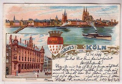 68332 Ak Lithographie Gruss aus Köln Reichsbank usw. 1899
