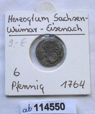 6 Pfennig Silber Münze Sachsen Weimar Eisenach Anna Amalia 1764