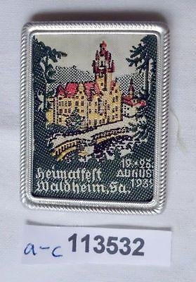 Seltenes besticktes Blech Abzeichen Heimatfest Waldheim 1939 (113532)