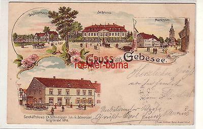 78583 Ak Lithografie Gruss aus Gebesee Geschäftshaus Schmeisser usw. 1902