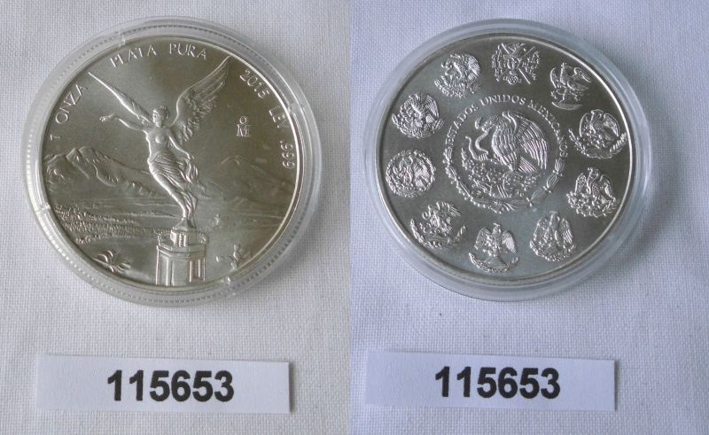 1 Onza Plata Pura Münze Mexiko 1 Unze 999 Silber Top 2015 115653