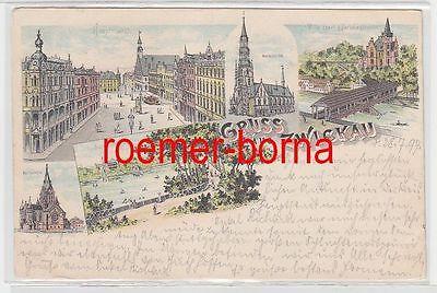 13430 Ak Lithografie Gruss aus Zwickau Villa Ebert & Paradiesbrücke usw. 1897